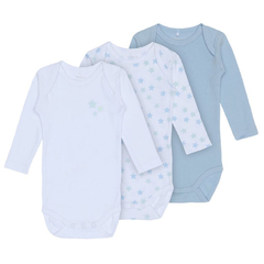 3er Pack langarm Baby Bodies Sterne von Name It