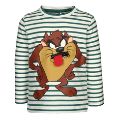 NAME IT Unisex Longsleeve Looney Tunes Taz in green/white