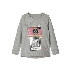 NAME IT Mädchen Langarmshirt Snoopy in grau