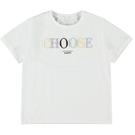 NAME IT Girls T-Shirt Choose Happy in white