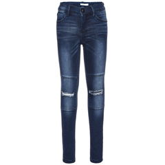 NAME IT Mädchen Stretch Jeans mit Knee - Cuts in blau