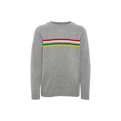 Organic cotton knitted sweater in grey with stripes by...